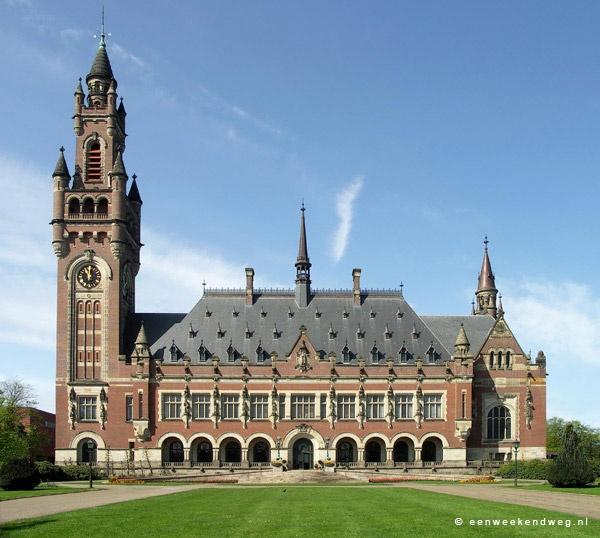 The Peace Palace, The Hague, Netherlands. Two important international legal institutions are housed in the Peace Palace: the International Court of Justice (the primary judicial organ of the United Nations) and the Permanent Court of Arbitration.