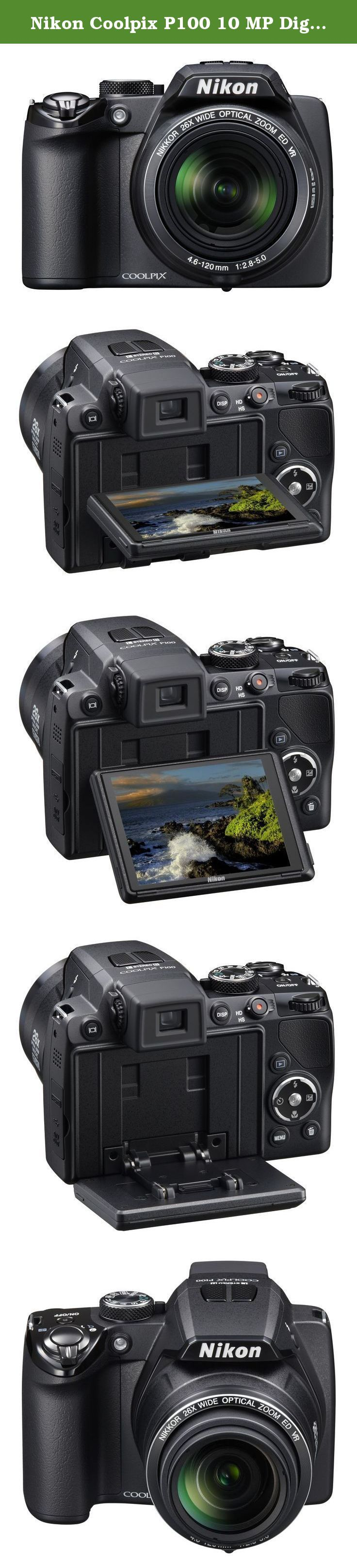 Nikon Coolpix P100 10 MP Digital Camera with 26x Optical Vibration Reduction (VR) Zoom and 3-Inch LCD (Black) (OLD MODEL). Zoom closer, shoot faster, and do more with Nikon's Coolpix P100, with its new CMOS sensor, 10.3 effective megapixels and incredible 26x optical Zoom-Nikkor ED glass lens. The cameras huge bright 3.0-inch high-resolution HVGA (460k-dot) vari-angle LCD and Electronic Viewfinder makes it easy to compose and share your pictures. Shoot Full HD (1080i) video with stereo…
