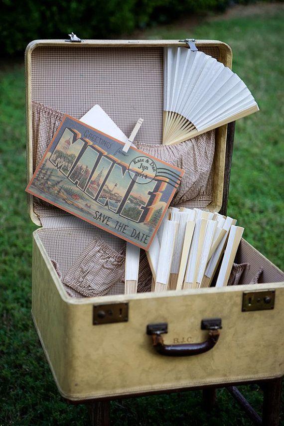 Vintage Travel Postcard Maine Save the Date Wedding Invitation digital download pdf