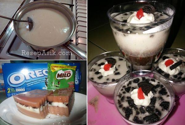 Resep Puding Milo Oreo dan Cara Membuat Puding Milo Lapis Oreo Lengkap Olahan Puding Susu Cokelat Milo Oreo dan Resep Puding Oreo Lapis Puding Milo Lembut