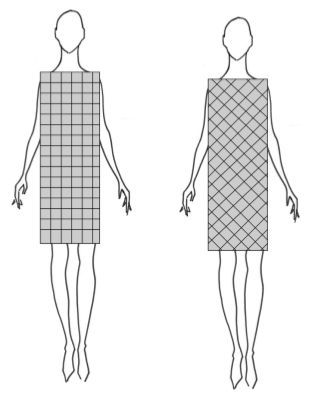 Diagonal lines are incredibly slimming and, like vertical lines, no matter where you place them on your body they will slim that area.  When I was a designer, we used to put jacket and blazer pockets on a slight angle simply because of this effect.  As you can see from the box on the right, even though the box is exactly the same size it looks smaller than the box on the left.