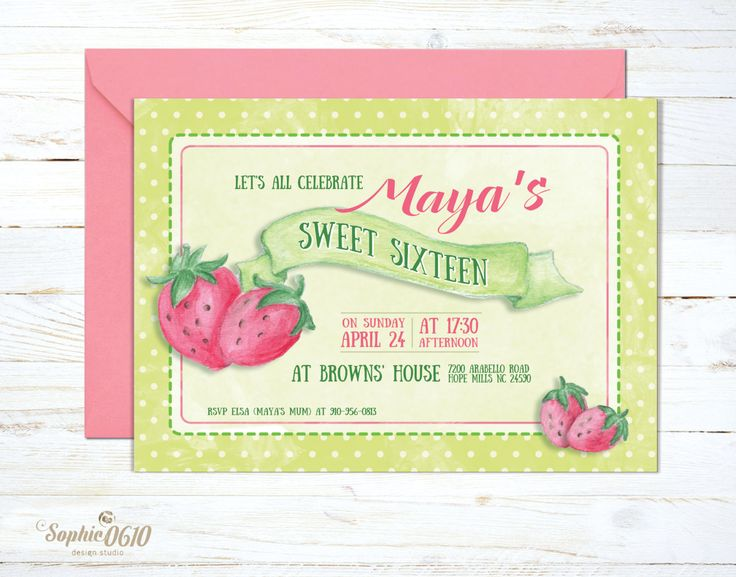 For those who love the vivid colors of strawberry.... Printable watercolor vintage birthday strawberry invitation by Sophie0610Designs on Etsy Klick on the link for more www.sophie0610designs.etsy.com