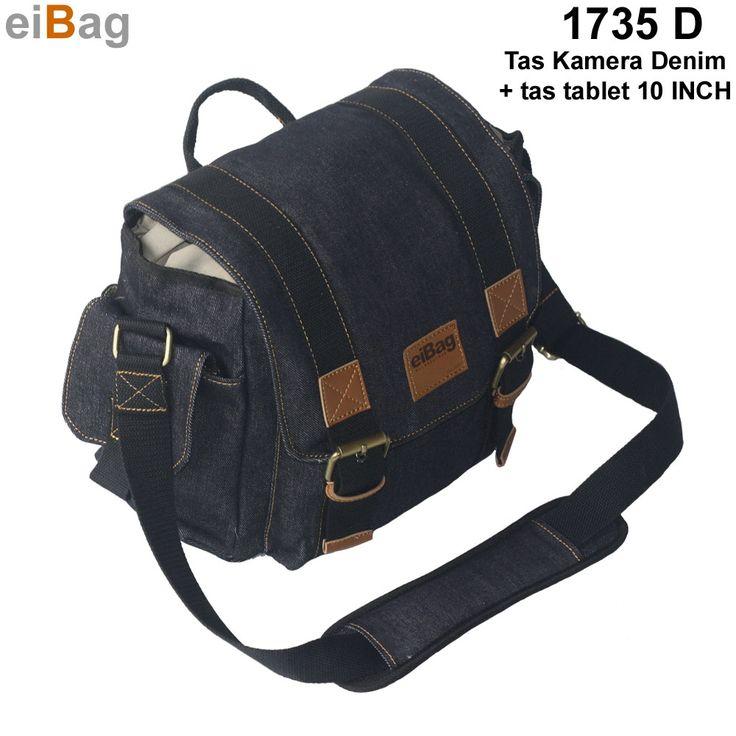 Tas denim model selempang berfungsi sebagai tas kamera DSLR dan tablet 10 INCH sistim insert case menggunakan bahan dry denim warna biru tua EIBAG 1753 D