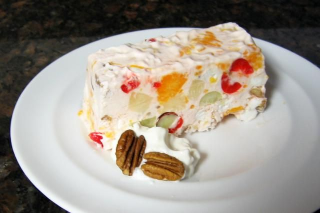 A fruit salad recipe from 1950, with cream cheese and fruit cocktail and marshmallows, among other ingredients.