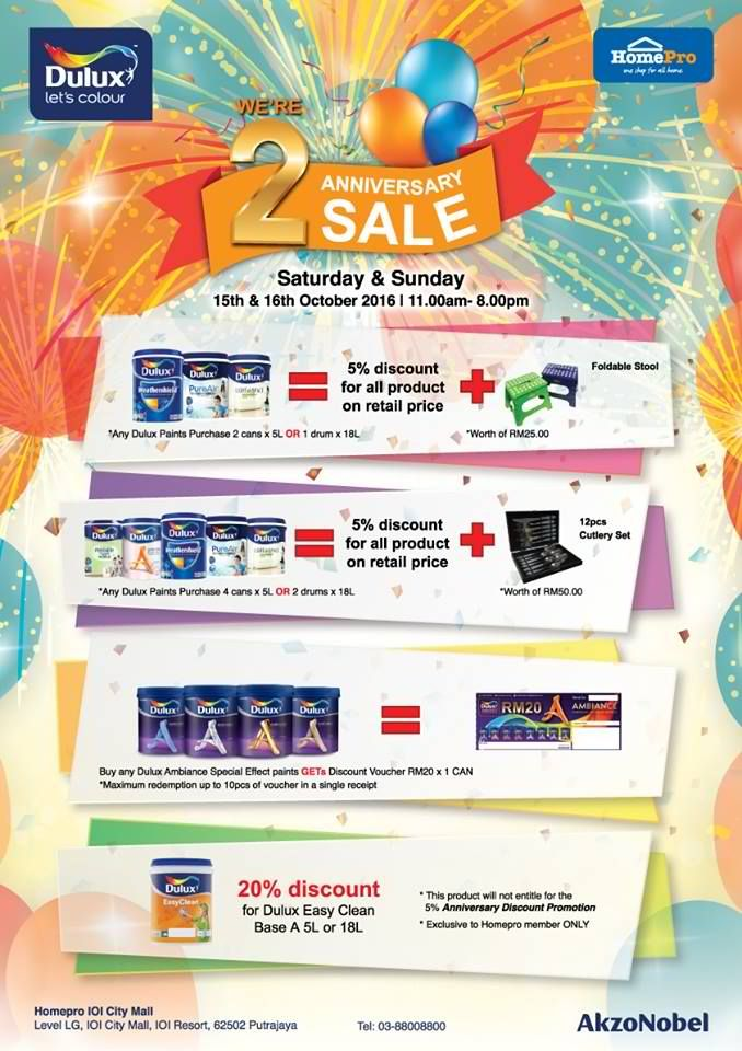 15-16 Oct 2016: Dulux Homepro 2nd Anniversary SALE