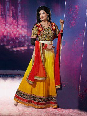Yellow Georgette Anarkali Suit with Resham Embroidery Work