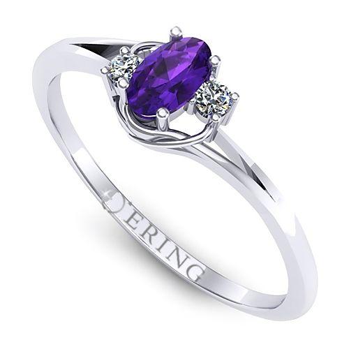 Inel logodna L21AAM inel cu ametist si diamante