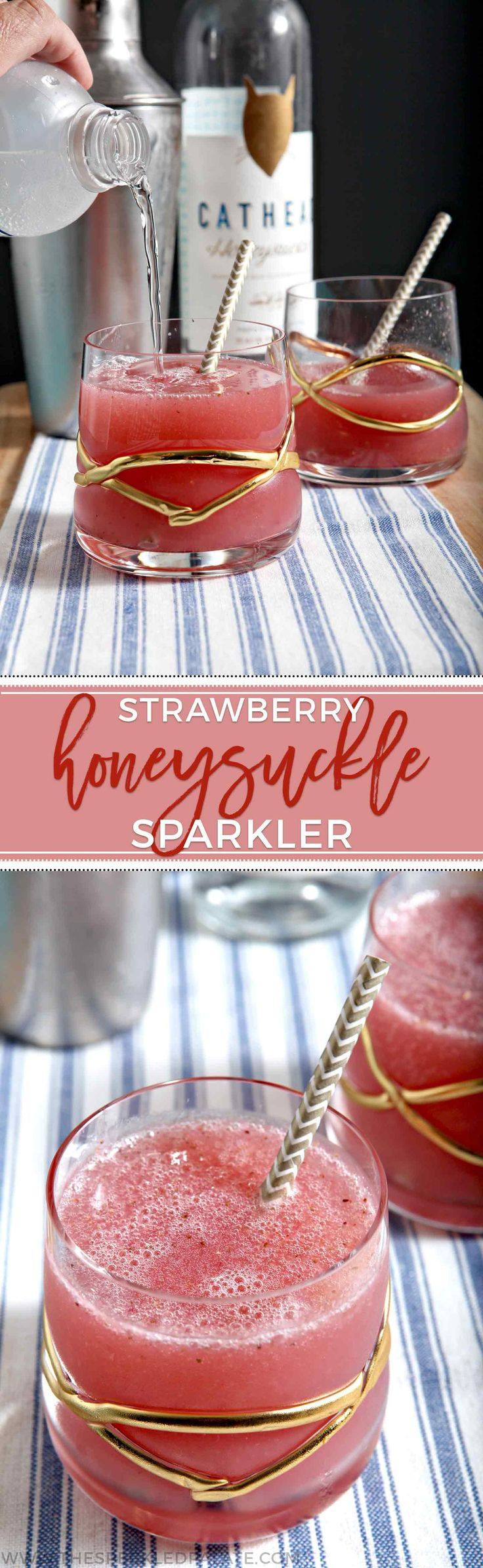 Strawberry Cocktail | Honeysuckle Cocktail | Summertime Cocktail | Summer Drink | Honeysuckle Vodka | Honeysuckle Recipe