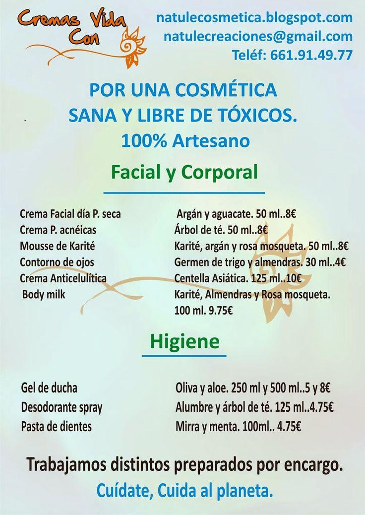 Cremas con Vida. Cosmética Artesana Natural: Catálogo Cremas con Vida