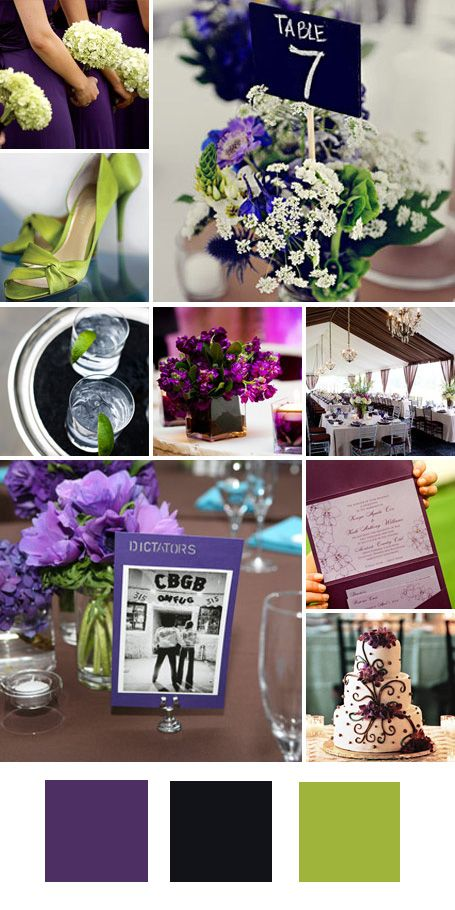 Purple, Green and Black wedding