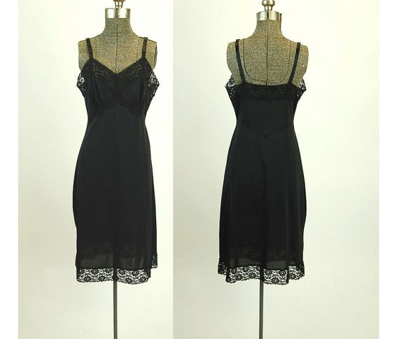 1960s black slip nylon slip full slip lace slip by vintagerunway