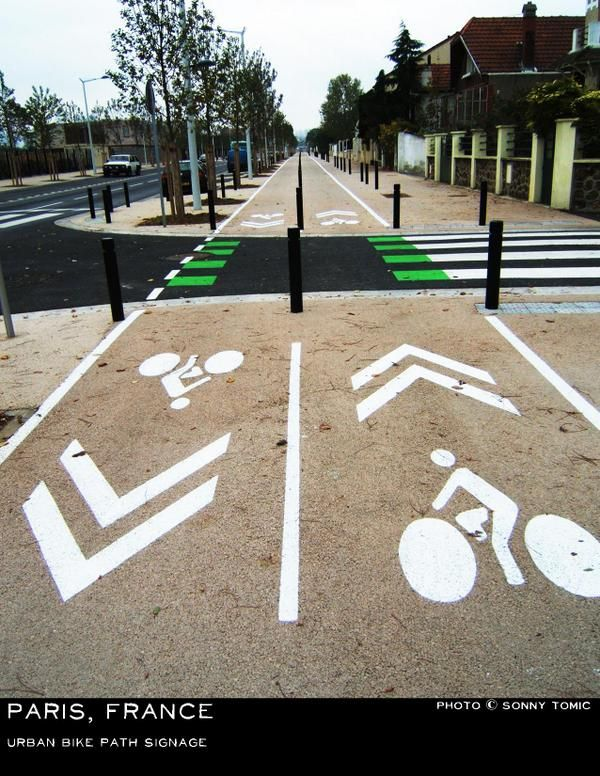 Small front lawns and generous cycle paths, sidewalks in suburban Paris. Click image to tweet via @SonnyTomic and visit the Slow Ottawa boards >> http://www.pinterest.com/slowottawa/