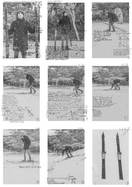 Teleportation with skis - Maurizio Di Feo - 1904/2016 - Opera composta da nove stampe lambda - #mauriziodifeo #artistaitaliano #milanoarte #art #contemporaryart #mixedmediapainting #assemblageart