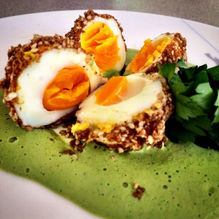 Dukkah eggs with green tahini ... Pete Evans recipe