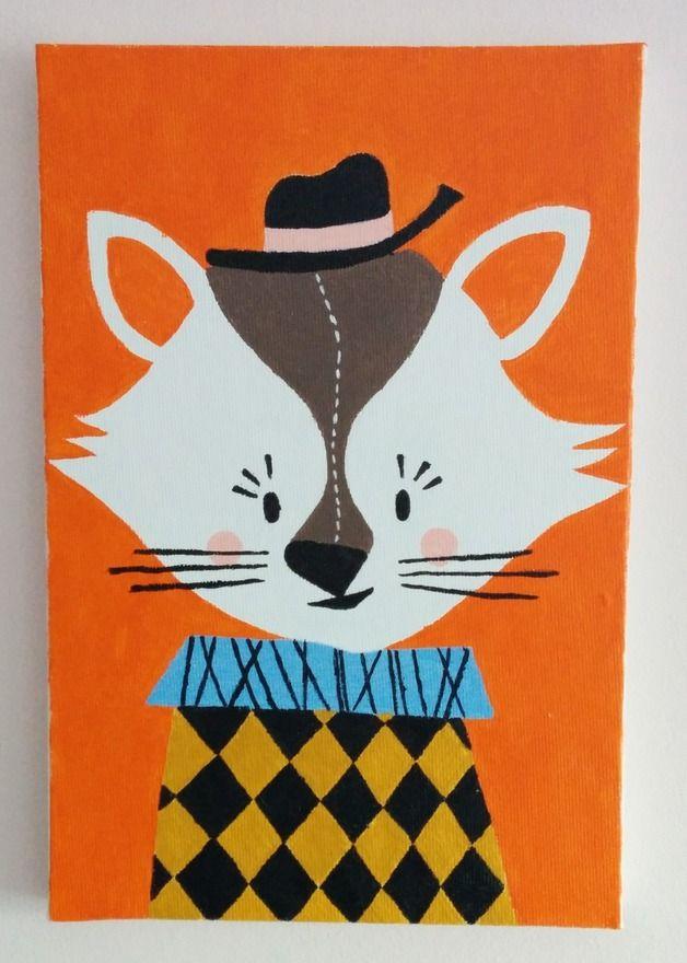 Obraz na płótnie ręcznie malowany Kotek. Handmade.