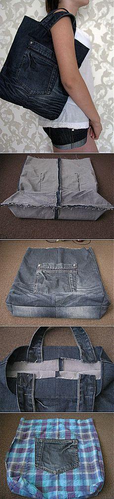 Хозяйственная сумка из джинсов - Ярмарка Мастеров - ручная работа, handmade