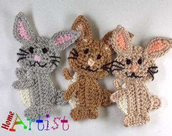 Pattern in PDF Crocheted Applique Bunny Rabbit от LilyKnitting