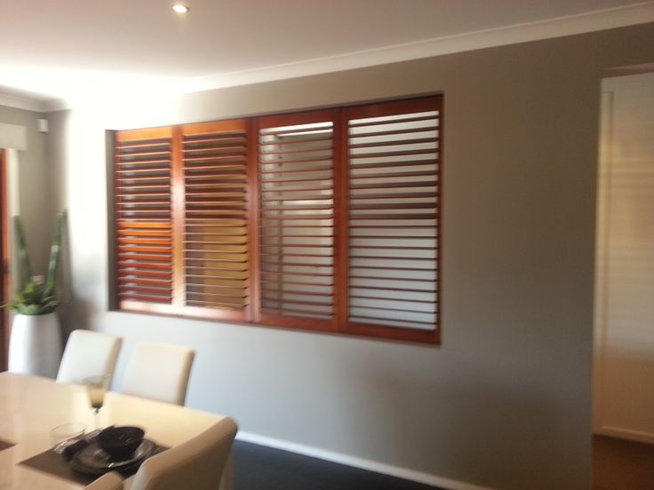 Timber louvres in interior opening.