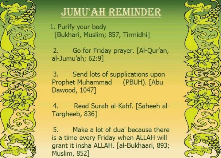 Jumah Reminder. Friday congregational prayer. Islam