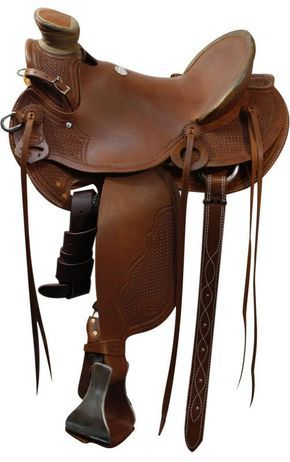 """15"""", 16"""", 17"""" Showman™ Roping Saddle. This saddle features square basket weave tooling on pommel, rawhide covered cantle, skirts, fenders and jockies accented with a tooled border. This saddle is equi"""