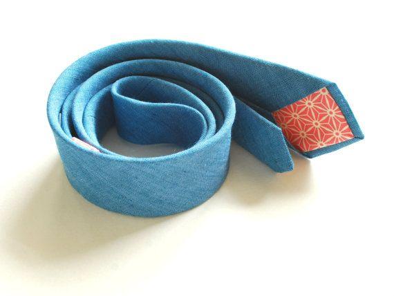 Skinny Linen Necktie- Men's Tie- Denim Blue Skinny Neck Tie