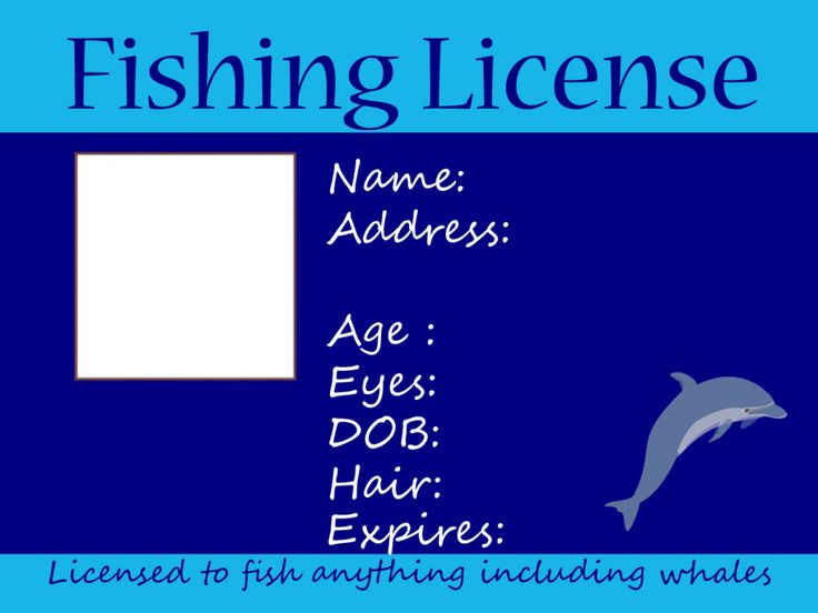 Kids fishing license in blue free printable free for Dicks fishing license