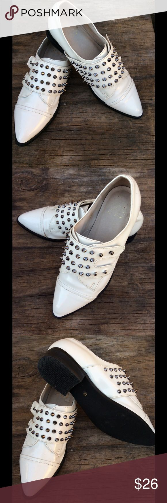 Yes Solestrucked Spiked Studded Loafer White patent leather with black sole...beautiful stainless steel studs decorating the top of the shoe! Yes Shoes Flats & Loafers