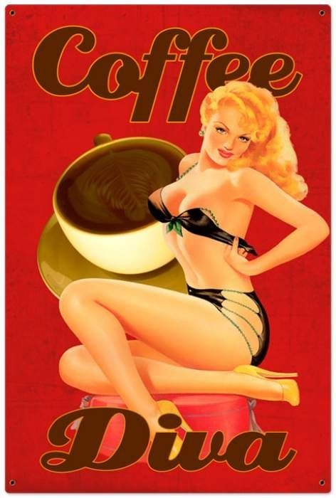 Vintage Coffee Diva Tin Sign 24 x 36 Inches -  VXL038 , $99.97