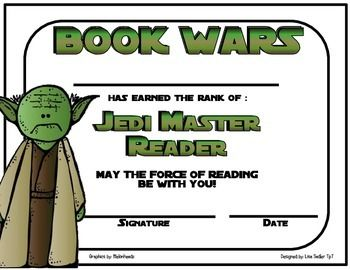 This adorable certificate is perfect to recognize your student's reading accomplishments. Perfect for a Star Wars themed classroom or for those little Star Wars fans! There are two certificates to choose from. Choice #1 has a colored border.Choice #2 is ink friendly with no border.Each certificate reads the following: BOOK WARS (in Star Wars font) ____________ has earned the rank of Jedi Master Reader. May the force of reading be with you. Signature and Date