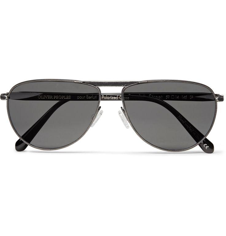 Berluti - + Oliver Peoples Conduit St Aviator-Style Gunmetal-Tone and Acetate Polarised Sunglasses