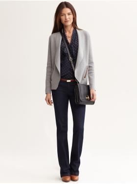 """Banana Republic- A great casual """"go to"""" outfit for fall/winter. Utilize your neutral greys to pair up with your denim and a pretty blouse underneath.   Your belt positioning will be more proportionate to your natural waist, or not as low on the hip."""