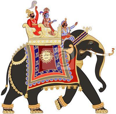 Fotobehang versierde Indische olifant