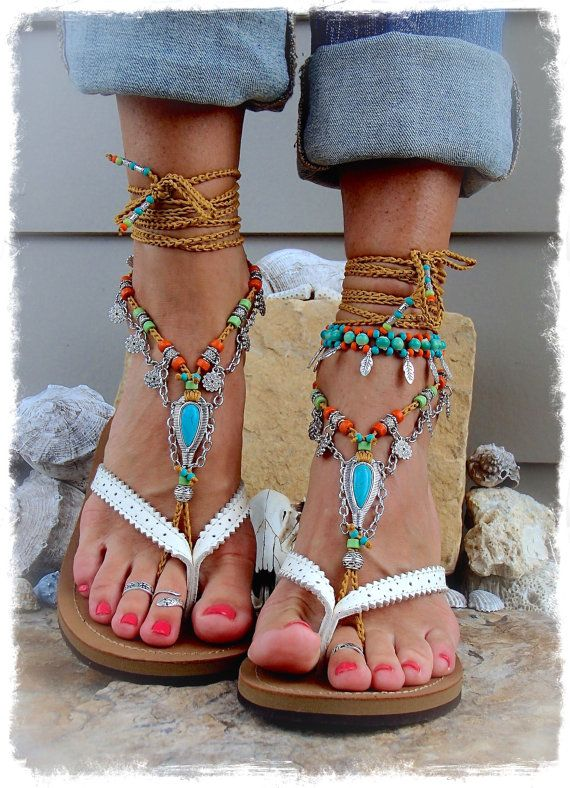 GYPSY Girl Turquoise nu-pieds sandales pieds de chaîne de sandale de Tribal Cowgirl Toe tongs envelopper de cheville sandale Bohème porter au crochet bijoux GPyoga