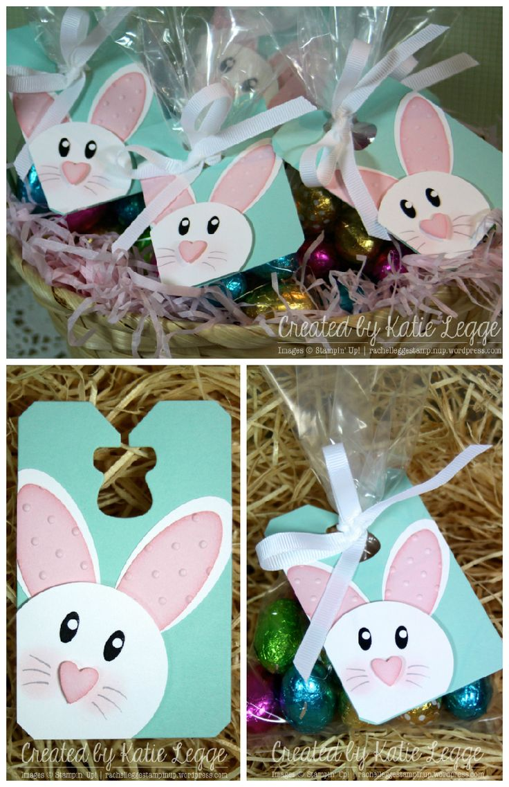 Stampin' Up! Simple and Easy Easter Bunny Punch Art Tags - Great for Decorating Bags of Easter Eggs | Created by Katie Legge #Easter #Bunny #StampinUp #PunchArt