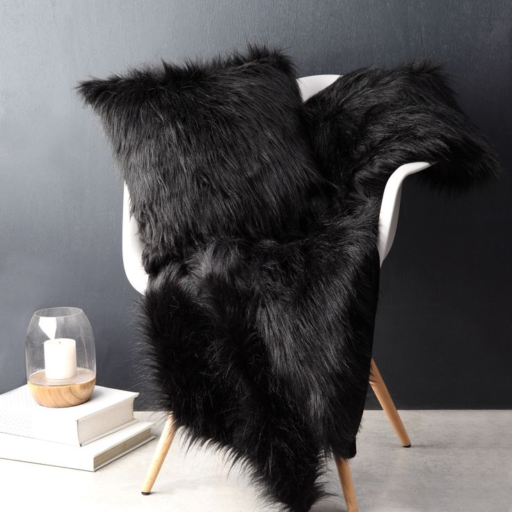 LOGAN & MASON ACCESSORIES - Barkley Black Square Cushion and Throw #black #accessories #faux #fur #cushion #home #décor #style #fashion #loganandmason