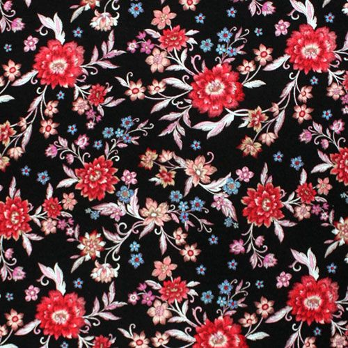 cb2bc9d1e87 Fuchsia Botanical Floral on Black Cotton Jersey Spandex Blend Knit Fabric -  Girl Charlee Exclusive and famous designer overstock score!