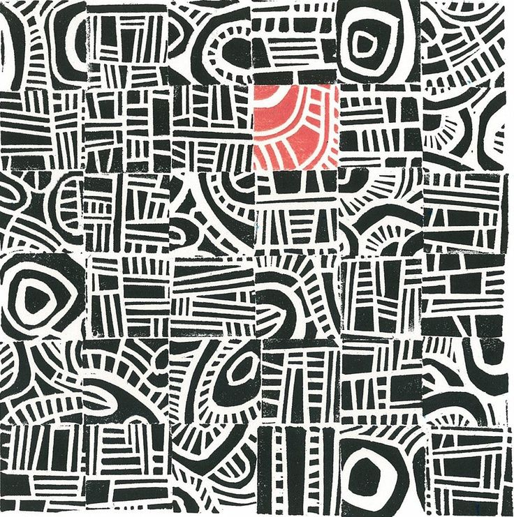 LINOCUT PRINT - Hundertwasser Mini Mid Century Modern Print, inspires... Collaborative print, own stamp in red