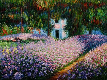Artist's Garden at Giverny 1900 Oil Painting by Claude Mone