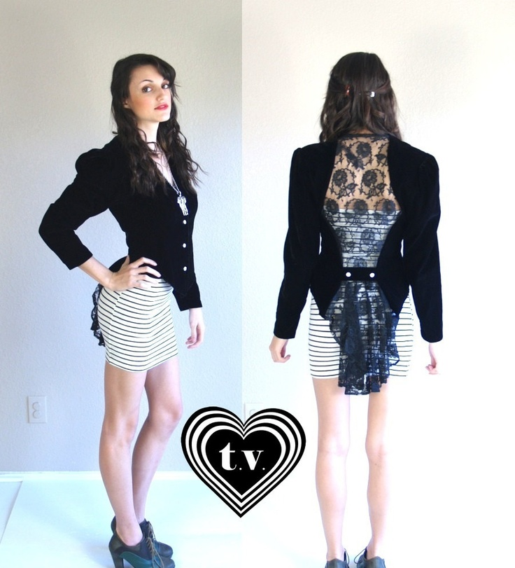 vtg 80s black velvet SHEER LACE Tuxedo Tails JACKET Victorian Small steampunk goth cut out. $72.00, via Etsy.