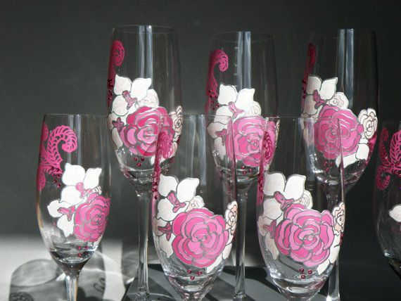 Hand painted Wedding Toasting Flutes Pink peonie by pastinshs, $24.50