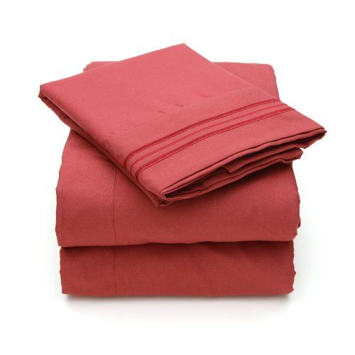 Bed Bath N More 2000 All Size 12 Colors Collection 4Piece Egyptian Quality Deep Pocket Bed Sheet Set Queen Burgundy >>> Click on the image for additional details.