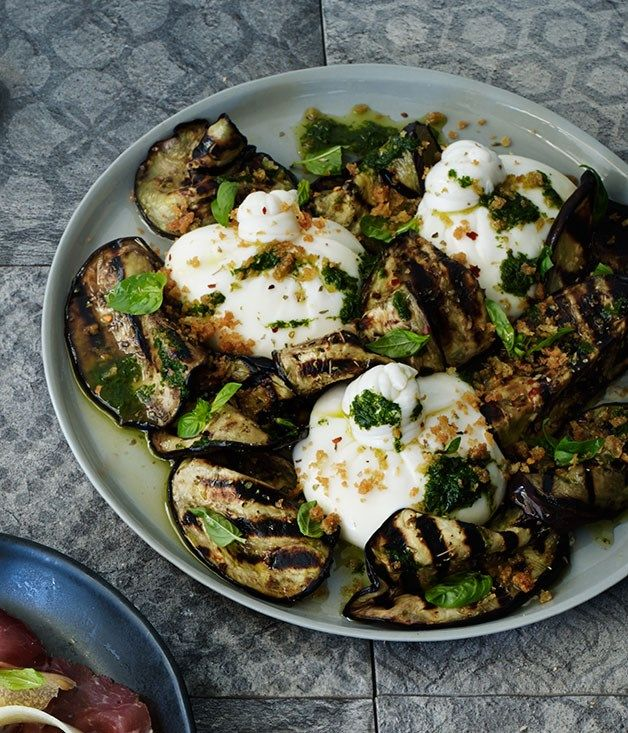 Burrata with char-grilled eggplant recipe :: Gourmet Traveller
