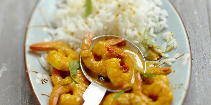Riz aux crevettes, curry et coco