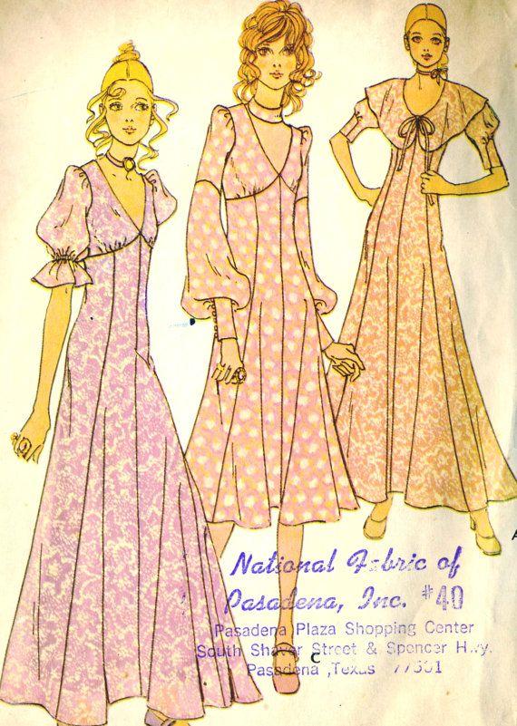 Vintage 1970s Mccalls 2747 Misses Junior Midi Maxi Fit And