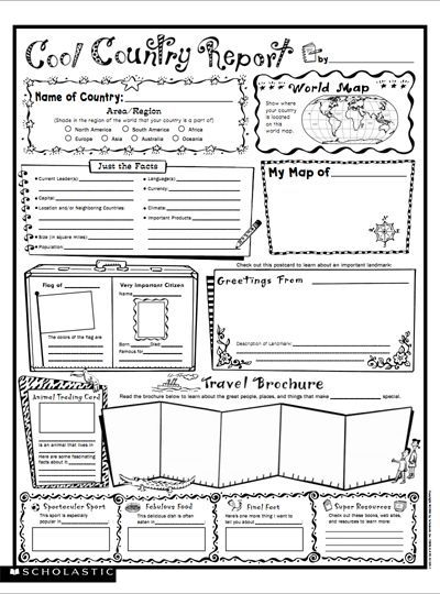 Cool Country Report: Fill-in Poster.    Introduce a different culture and help strengthen your child's writing skills, all at the same time!  This is another example of the AMAZING free resources at the Scholastic site.