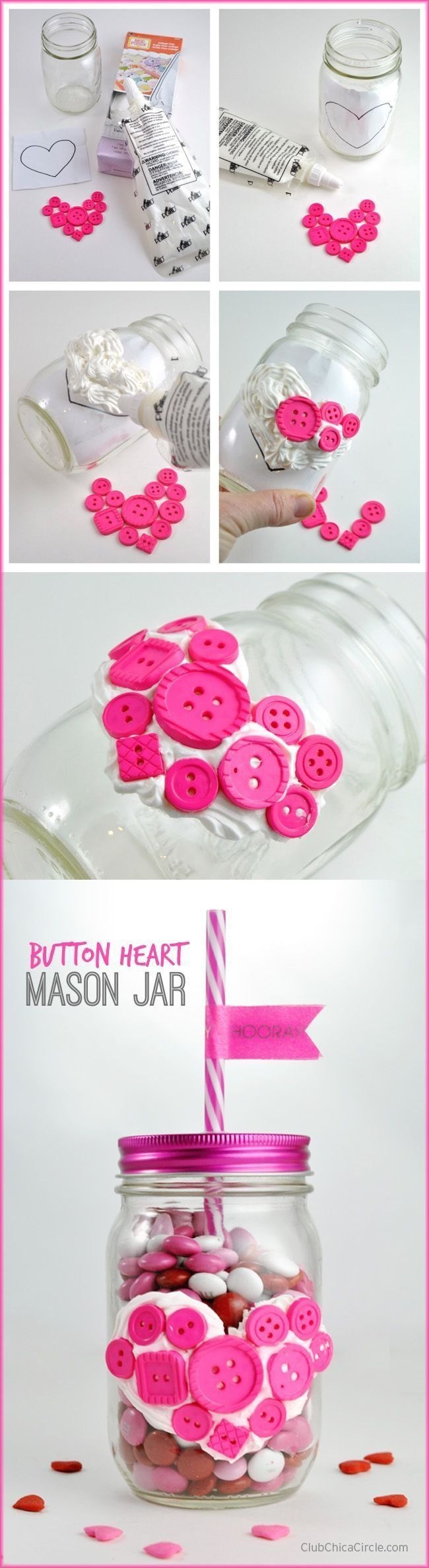 Button Heart Mason Jar with Collage Clay by Club Chica Circle.