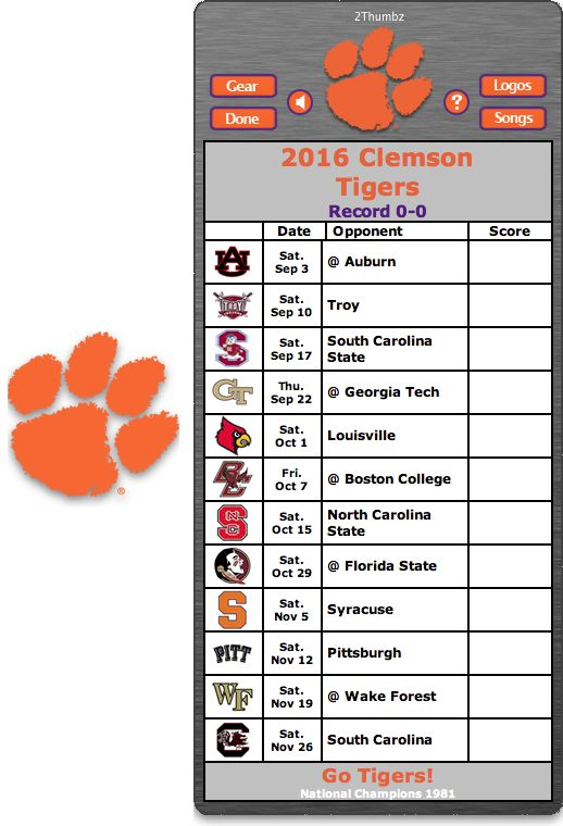 Get your 2016 Clemson Tigers Football Schedule App for Mac OS X - Go Tigers! - National Champions 1981 http://2thumbzmac.com/teamPages/Clemson_Tigers.htm