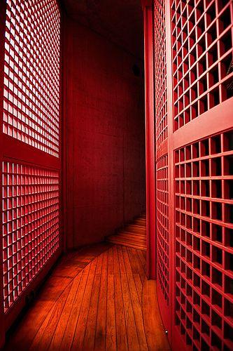Red corridor, Honpuku-ji temple, Awaji, Hyogo, Japan.