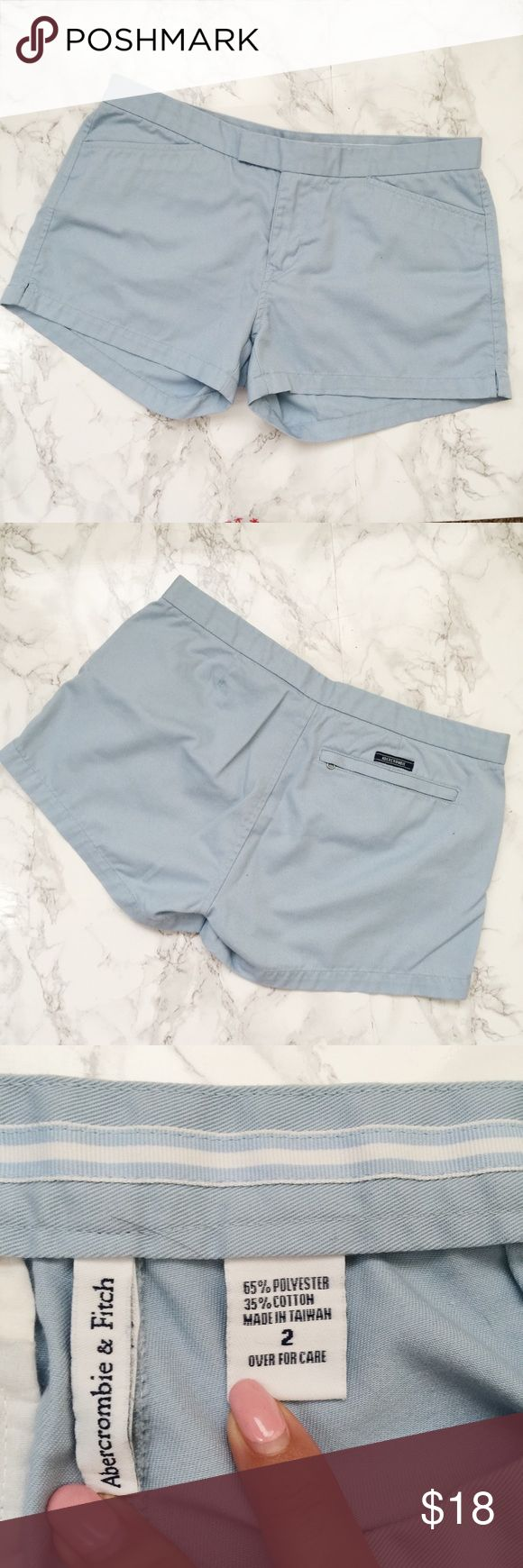 Abercrombie and Fitch Light Blue Shorts Light blue shorts with pockets. Zipper pocket in back. Gently used condition. Abercrombie & Fitch Shorts