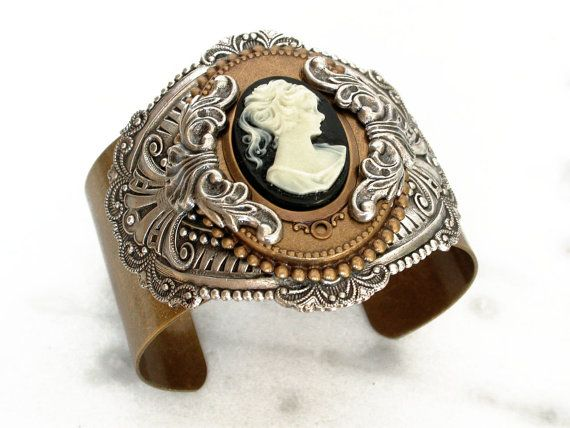 Black Cameo Brass Cuff - Women Victorian Cuff Bracelet - Victorian Jewelry